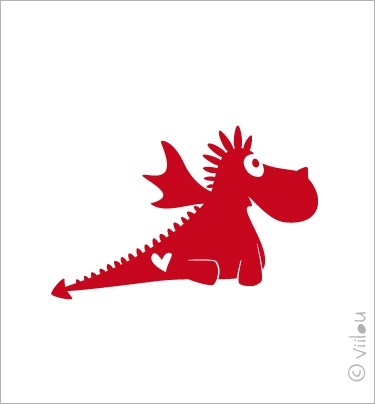 Drache 8 Velours Applikation Aufbügler Sticker