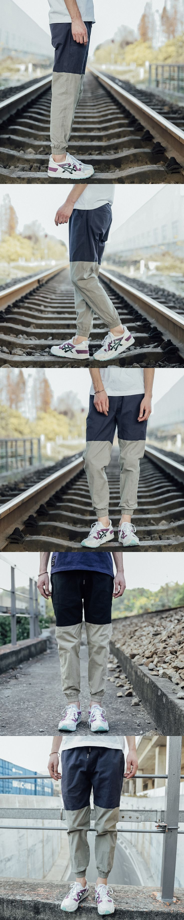 Male Trousers 2017 New Men Casual Two color stitching Loose Sweatpants Linen Trousers Joggers Mens Pants Plus Size