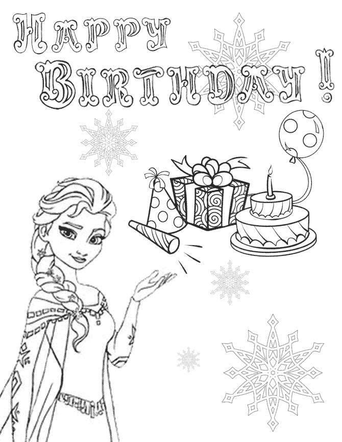 Elsa Snowflake Presents Cake Birthday Coloring Page