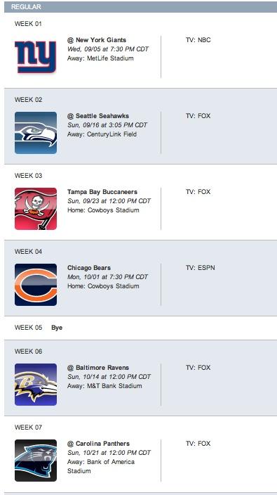 2012 Dallas Cowboys Football Schedule