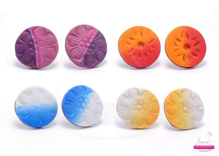 """Flowers in the Garden"" - gradient polymer clay stud earrings"