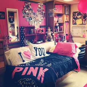 This is so what I had in mind for my room! I am getting the PINK by VS bedding and doing the pink walls :D ahh yes!!!