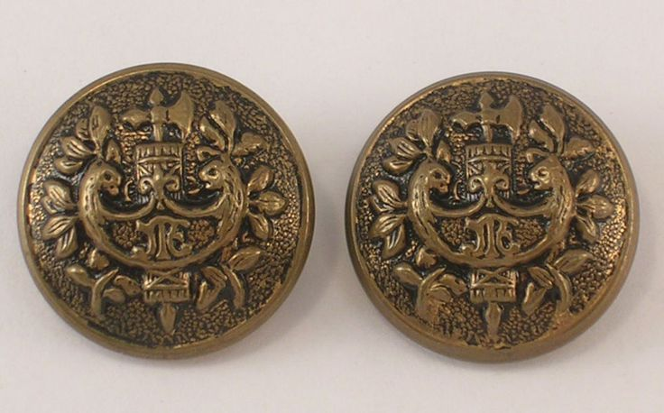Pair Old Metal Buttons Hollow Bronze Color Family Shield or Crest w/Shank Loops #Unknown