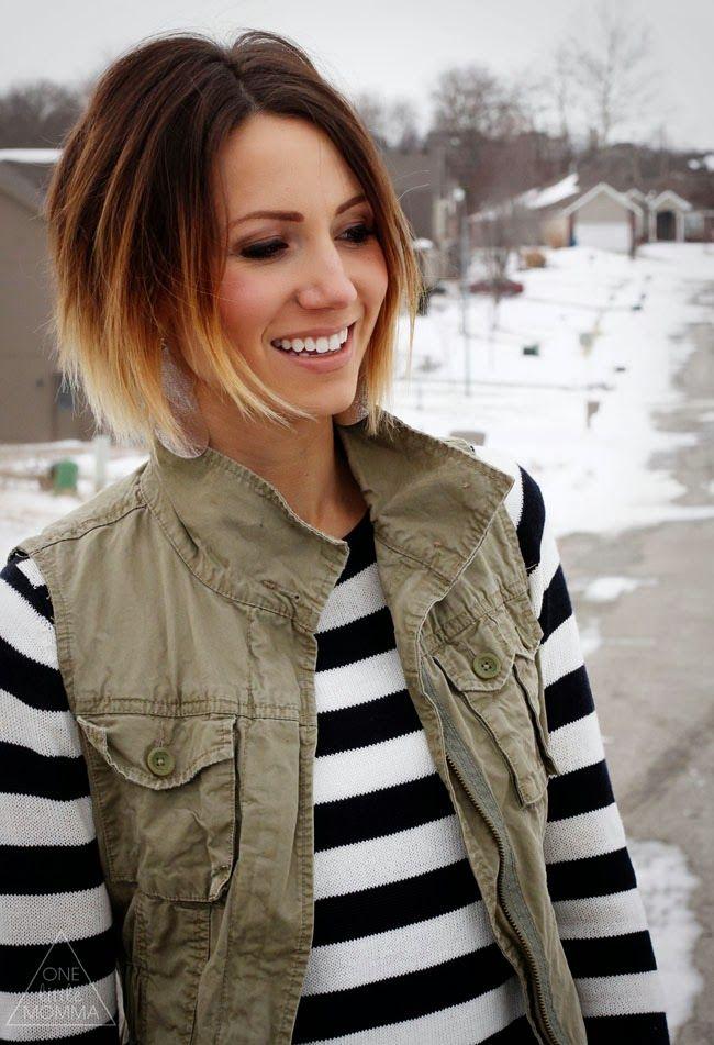 Ombre color technique short hair
