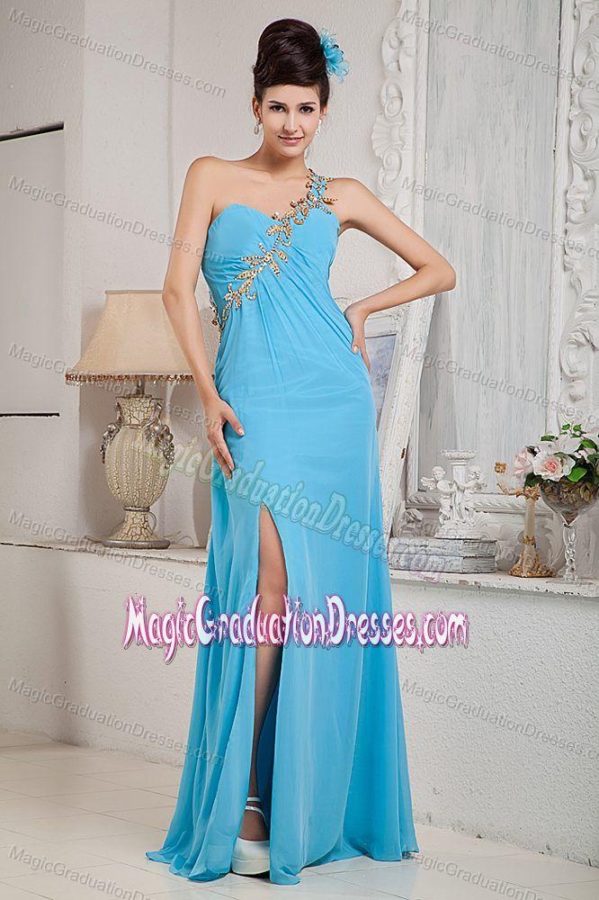 Aqua Blue One Shoulder Beading University Graduation Dress in Ragland