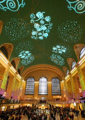 Christmas Kaleidoscope Light Show is seen on the dome and wall of the Grand Central Terminal in New York.