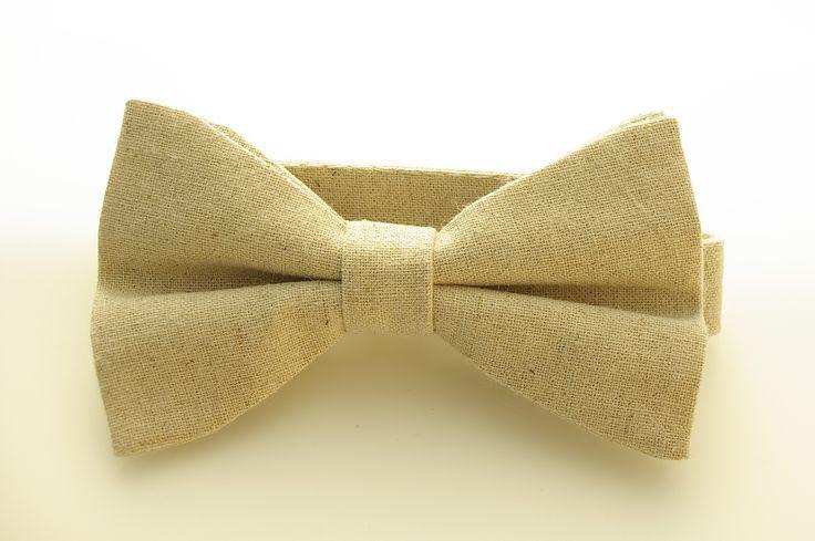 Natural sand beige linen bow tie handmade in Australia by Huxby Haberdashery. Great wedding tie idea