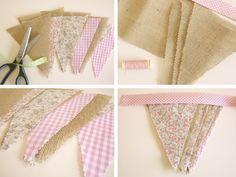 Cómo coser banderola de tela - All Lovely Party