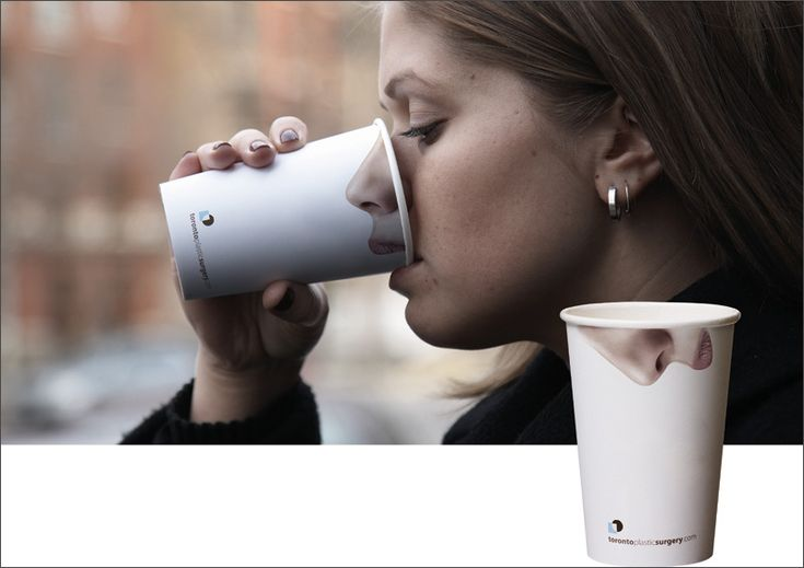 Creative paper cup made as advertisment for plastic surgery by DDB, Canada.