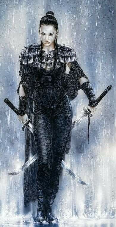 Nabu Hinata, shioniana meia elfa sombria. Assassina e mercenária. Faz parte dos Crows.