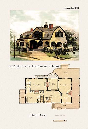 Manor House Drawing: A Residence At Larchmont Manor - Art Print