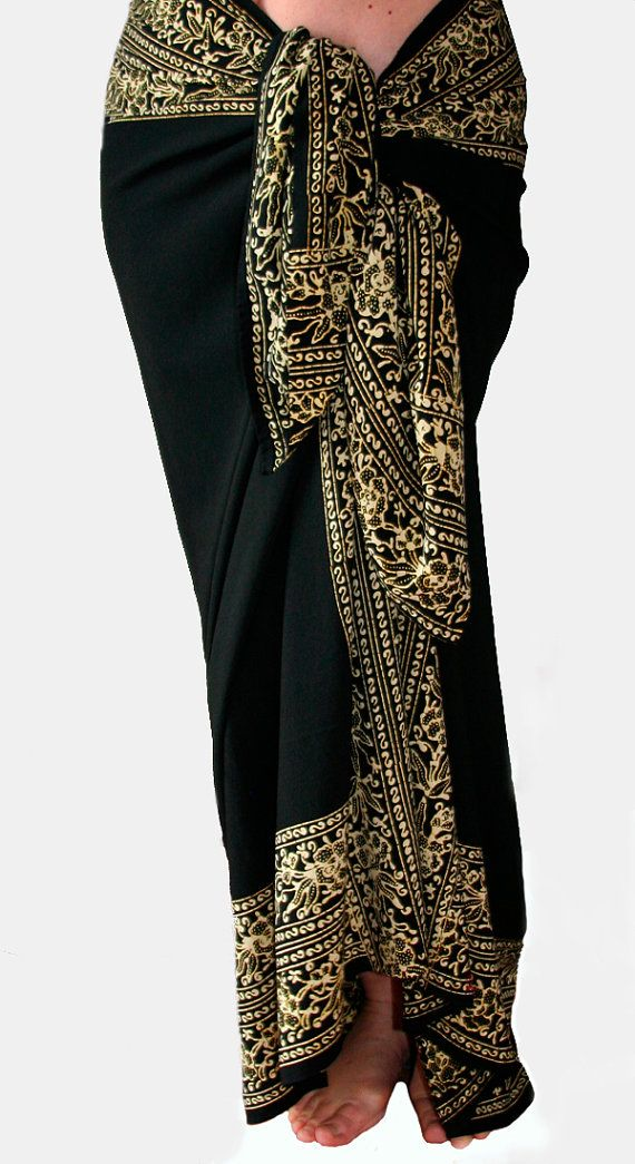 Black Beach Sarong Women's Swimsuit Coverup Batik Pareo by PuaWear, $35.00