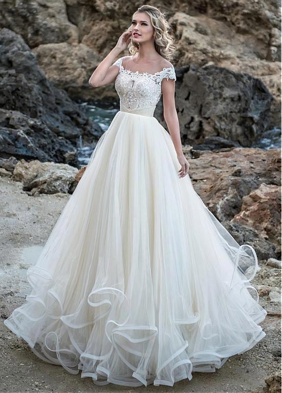73466270c99 Buy discount Glamorous Tulle Jewel Neckline A-line Wedding Dress With  Beaded Lace Appliques   Ruffles at Dressilyme.com  elegantweddingdresslace