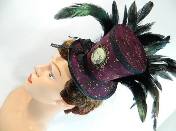 Tophat dark red stars Sissi Minihat Fascinator by Nashimiron