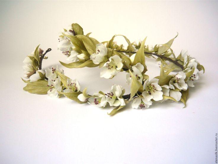 Купить Венок из шелка Аромат Вишни - белый, венок для невесты, венок из цветов, венок для фотосессии