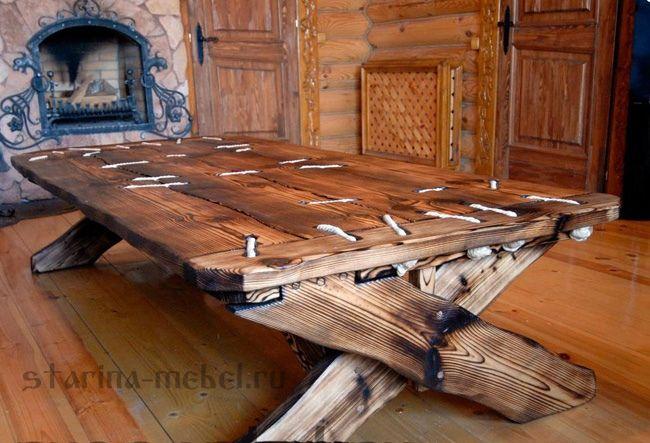 Деревянные #столы_под_старину из сосны: обеденные, письменные, журнальные. Эта мебель восхищает!