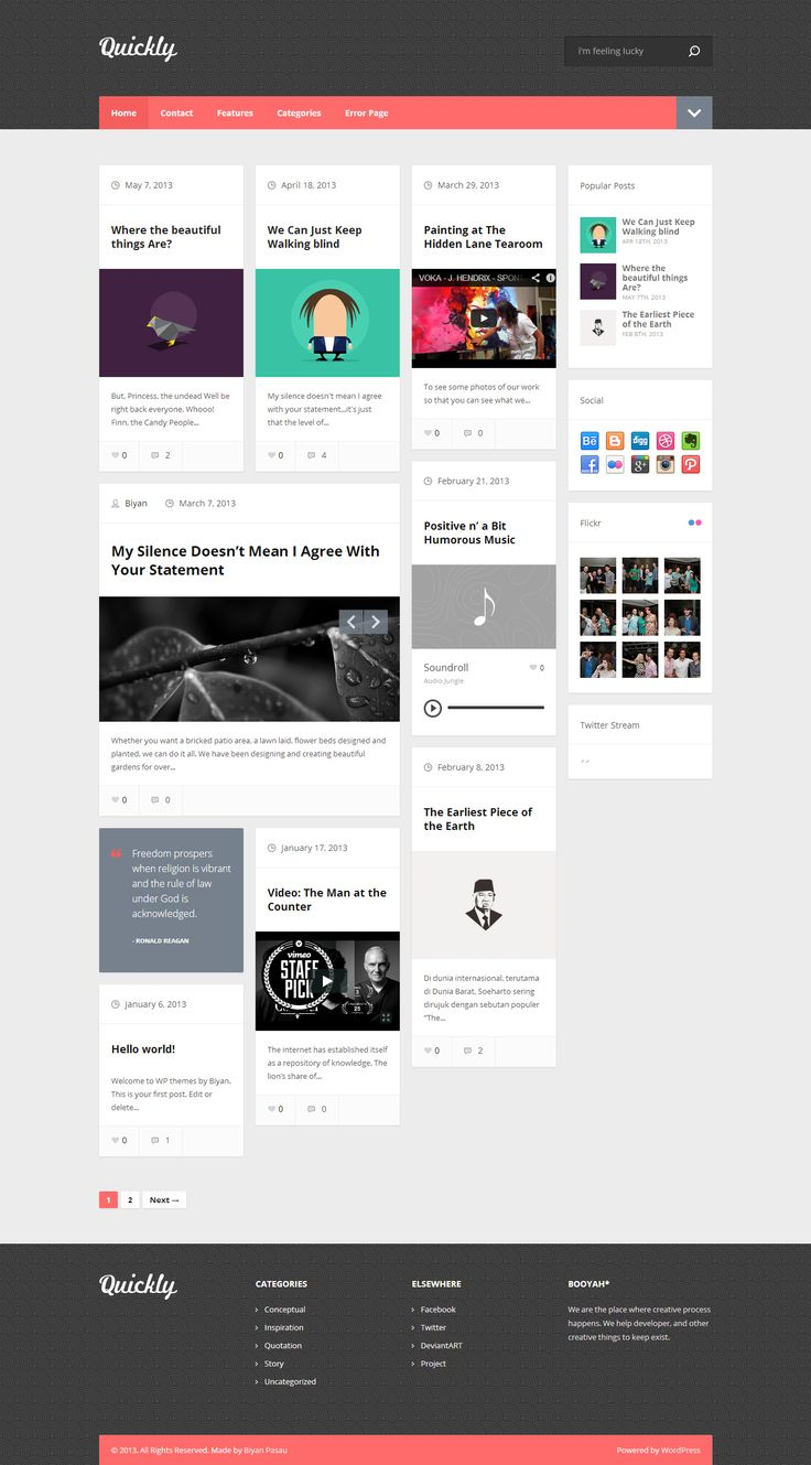 Quickly - Handcrafted WordPress Theme  #wordpress #theme #website #template #responsive #design #webdesign #flat #flatdesign #blog #personal #grid