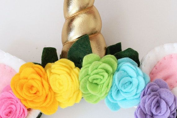 Unicorn Horn Headband with Rainbow Flowers by EnchantedPaisley