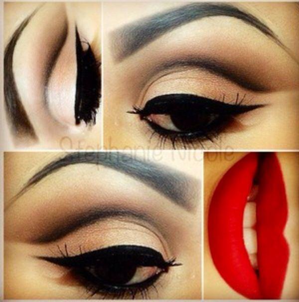 Classic Pinup makeup!  #lips #redlips #pinup #makeup #pinupmakeup #eyebrows #red #cateye