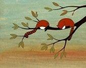 Verschlafene kleine rote Pandas – signierter Kunstdruck