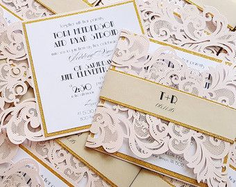 These gorgeous laser cut wedding invitations are the perfect fit for the most romantic of brides. Printed and assembled in our studio in Michigan, the petal fold card features two hand assembled layers, the first layer is a sand glitter cardstock which beautifully highlights and frames the main printed panel, where a mix of typography and script fonts are combined to create the perfect feel for your romantic and elegant wedding. The floral on the background is printed with our special CMYK…
