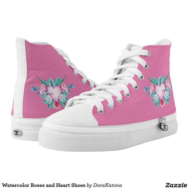 Watercolor Roses and Heart Shoes Printed Shoes