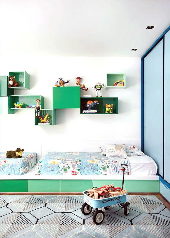colorful modern shared kid's room, image via Denilson Machada Curti muito esse modelo de cama !!