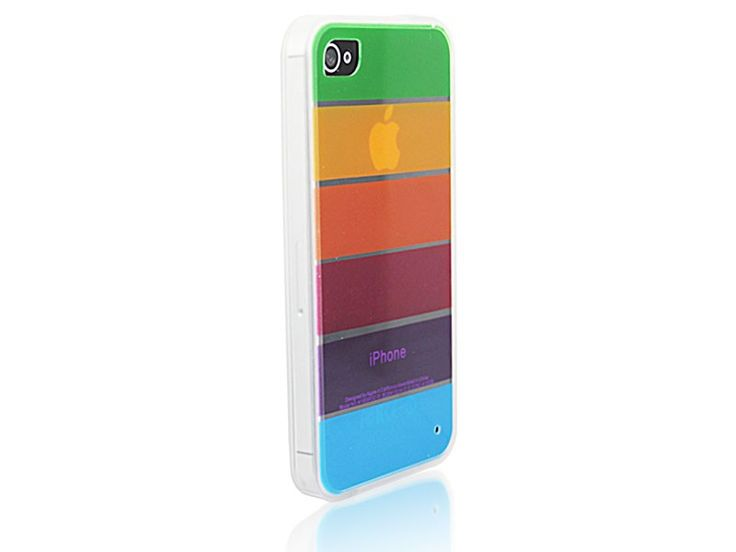 Bumper case hoesje transparant iPhone 4/4S regenboog design