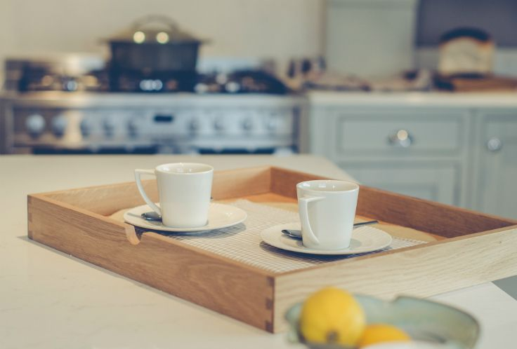 Oak breakfast trays in an inframe kitchen at Newhaven Kitchen.