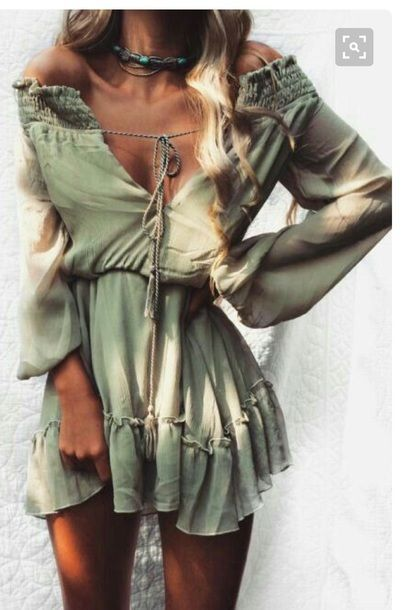 $30 Olive Green Off The Shoulder Front Tie Detail Flare Sleeves Mini Dress Cool Casual Boho Chic Hippy Summer Spring Trends Tumblr