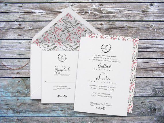 Modern Monogram Wedding Invitation, Wedding Invites, vintage, watercolor, Calligraphy, Formal, Elegant, Anna Malie Design, In Love Studio
