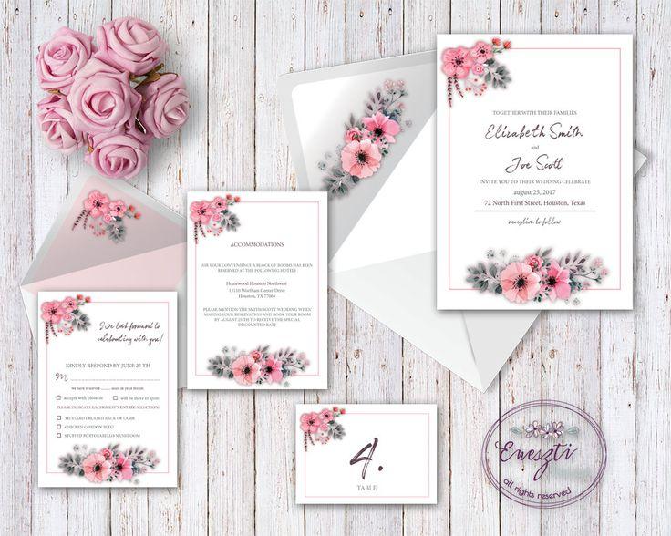 Wedding invitation Kits, DIY, wedding, pink, pink flower, invitation, accommodations, response, place cards, envelope by EnesztiDesign on Etsy