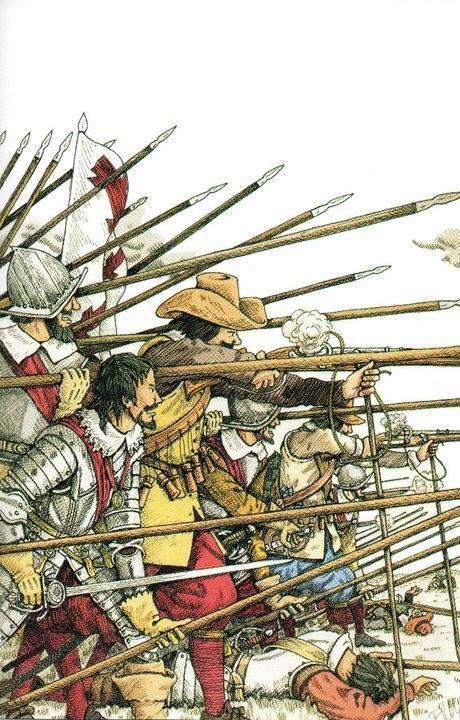 1500-1500 Tercios españoles. Los arcabuceros hacen fuego protegidos por el muro de picas.