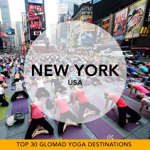 Glomad's 'Top 30 Global Yoga Destinations' No.22 – New York City, USA  The endless city of millions, abuzz with creatives, Wall Street climbers, street dwellers, racial in-your-face-ness and all night everything. In amongst the madness is an A to Z of Yoga Studios and Experiences. Get ready, be bold and dive in the BIG Apple. #glomad #USA #newyork #yogatravel #yoga