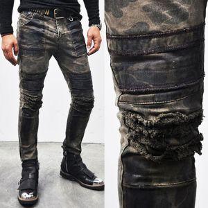 Hardcore Wax Coated Grunge Camo Biker-Jeans 108