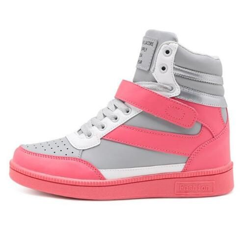 Women Fashion Sneakers High Top Hook Loop Lace Up Platform Casual Shoes 39ab16d4587
