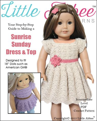 Little Abbee Sunrise Sunday Dress Doll Clothes Pattern 18 inch American Girl Dolls | Pixie Faire