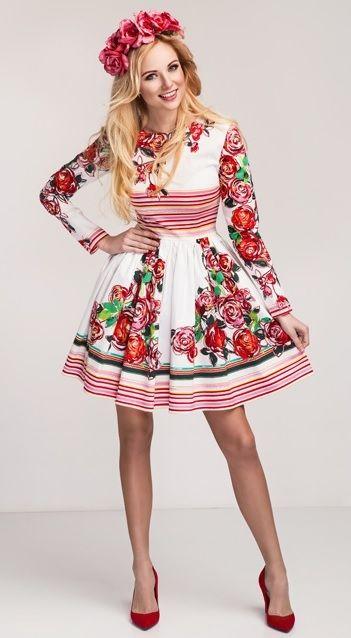 Šaty Lidový folklor, bílé s červenými vzory
