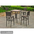Barcelona 32-inch Square Bar Height Bistro Group Table with 4 Chairs   Overstock.com