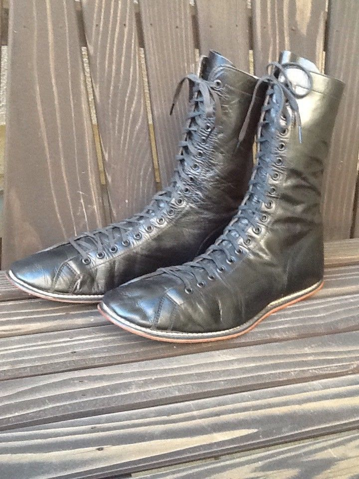 34c396fe0f1a6 SUPER Old Antique 1920 s All Black Leather Boxing Wrestling Shoes Vintage  Circa