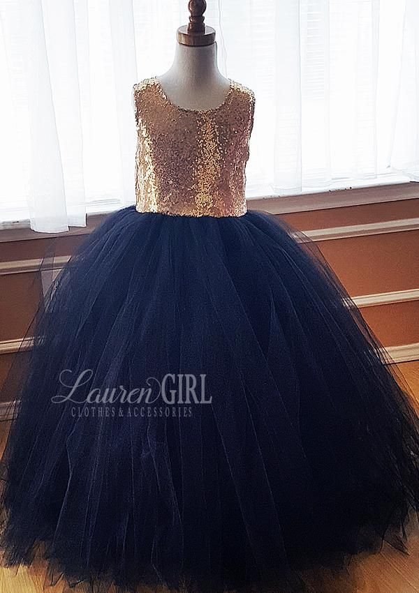 Giselle Navy And Gold Sequin Gown Flower Girl Dresses Navy Gold Flower Girl Dresses Flower Girl Dresses Tutu