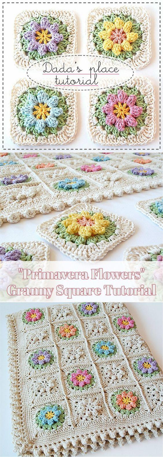 Primavera Flowers Granny Square [Free Crochet Pattern + Photo Tutorial] #crochet #grannysquare #freepattern #decor #craft #artwork