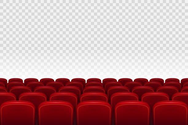 Empty Movie Theater Auditorium With Red Seats Rows Of Red Cinema Cinema Movie Theater Movie Theater Theatre Illustration