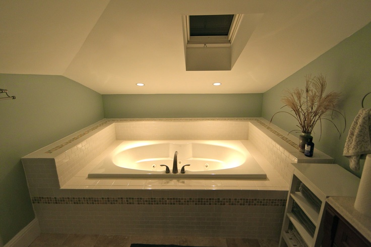 Attic addition - second bathroom, jacuzzi tub.  Subway tiles...such a beautiful classic look - and so affordable!