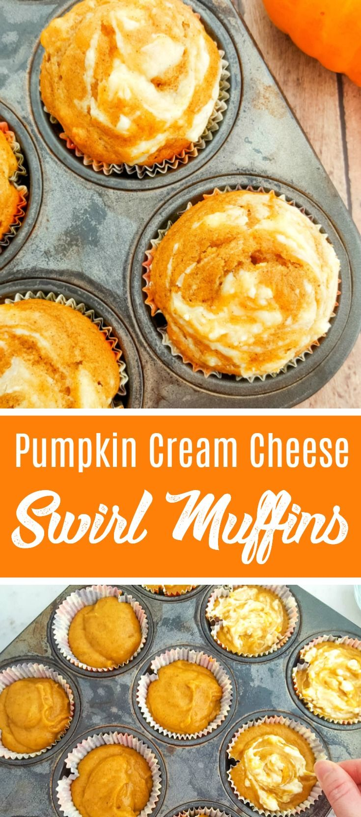 Pumpkin Cream Cheese Swirl Muffins Recipe - All the flavors of fall for breakfast or dessert!