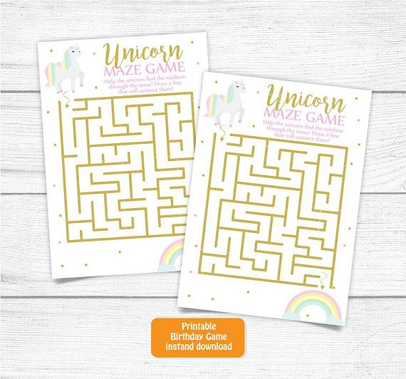 Printable Unicorn Birthday Game Cards Rainbows and Unicorns