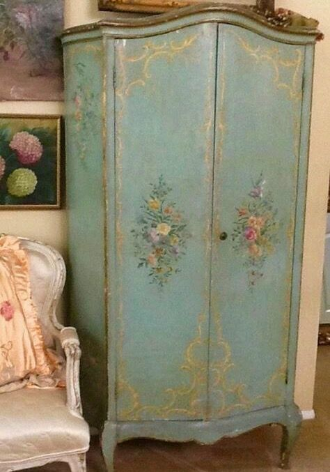 Antique Floral painted wardrobe