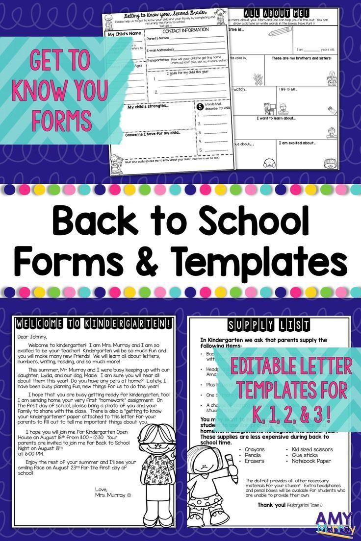 Back To School Forms Editable Meet The Teacher Letter Template K