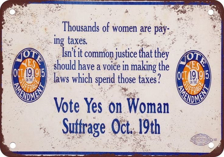 """9"""" x 12"""" Metal Sign - 1915 Vote Yes on Woman Suffrage - Vintage Look Reproductio #Handmade #Novelty"""