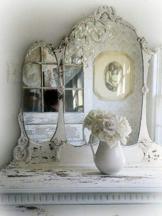 1000 ideas about white mirror on pinterest cottage chic corner chair and mirrors antique dresser framed leaning mirror shabby chic